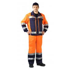 """Костюм мужской """"Протект-Люкс"""" летний, сигнальный оранжевый с синим"""