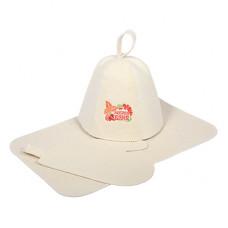 Набор из 3-х предметов (шапка Добрая баня, рукавица, коврик)