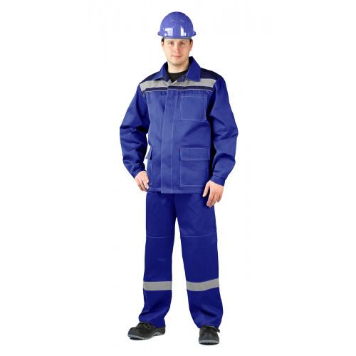 "Костюм ""АКТУАЛ"" куртка/брюки, цвет: василек/т.синий, ткань: саржа"