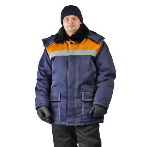 "Куртка зимняя ""УРАЛ"" цвет: т.синий/оранжевый"
