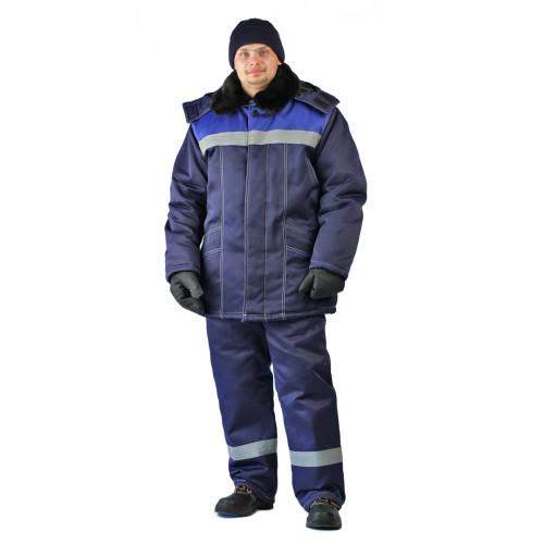 "Костюм зимний ""ВЬЮГА"" куртка/полукомб. цвет: т.синий/василек"