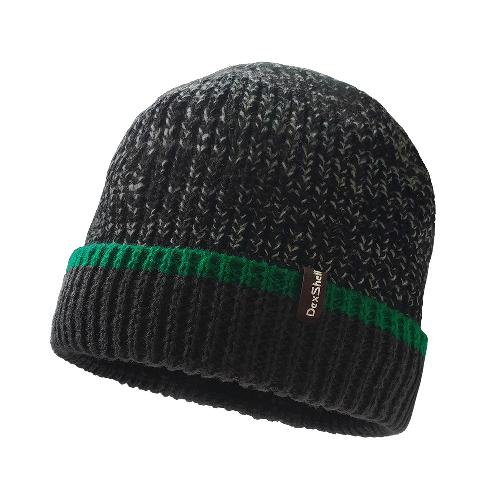 Шапка водонепроницаемая Dexshell Cuffed Beanie, DH353GRN черная с зеленой полоской