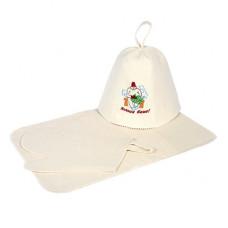 Набор из 3-х предметов (шапка Хозяин бани, рукавица, коврик)
