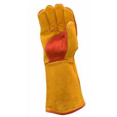 Краги спилковые РЛ желтые с красным, флисовая подкладка, кевларовая нить