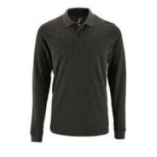 Рубашка поло мужская с длинным рукавом Perfect LSL Men, черный меланж