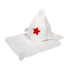 Набор из двух предметов (Шапка Будёновка белая, коврик)