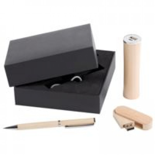 Набор Wood: аккумулятор, флешка и ручка