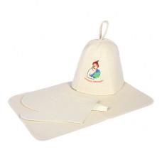 Набор из 3-х предметов (шапка Лучший банщик, рукавица, коврик)