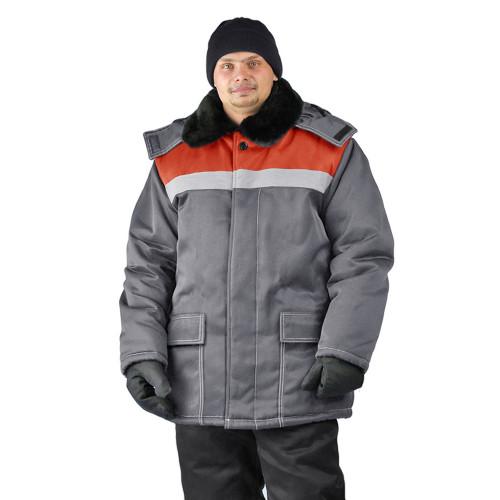 "Куртка зимняя ""УРАЛ"" цвет: т.серый/красный"