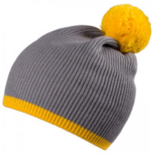 Шапка Amuse, серая с желтым