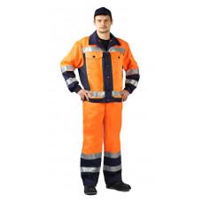 """Костюм сигнальный """"ПРОТЕКТ"""" куртка/брюки цвет: оранжевый/т.синий"""