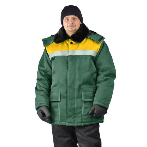 "Куртка зимняя ""УРАЛ"" цвет: т.зеленый/желтый"