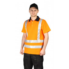 Рубашка-поло оранжевая с СОП 50 мм короткий рукав