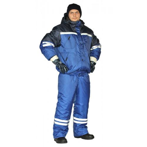"Костюм зимний ""СТИМ"" куртка/полукомб. цвет: василек/т.синий"